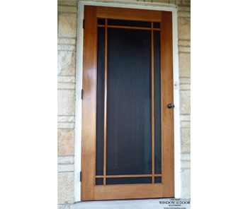 Prairie Grille Wood Storm Door – Riverside, IL
