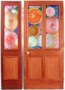 Custom wood doors with stained glass
